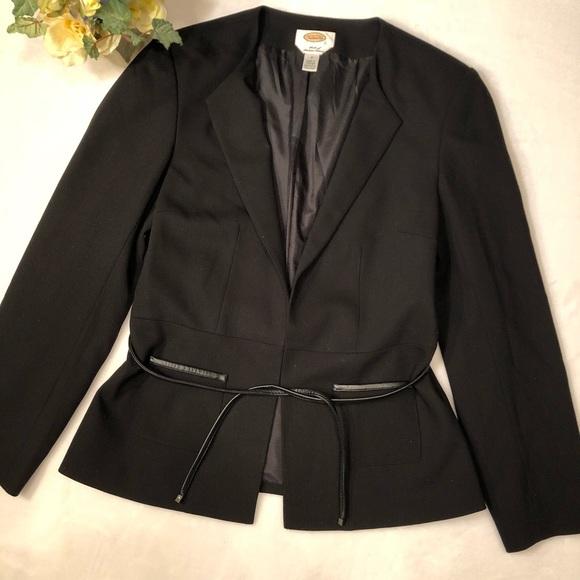 e623e37db3 Talbots Black Wool Leather Trim Belted Blazer. M 5a90a6b731a376cb76c1b4b5